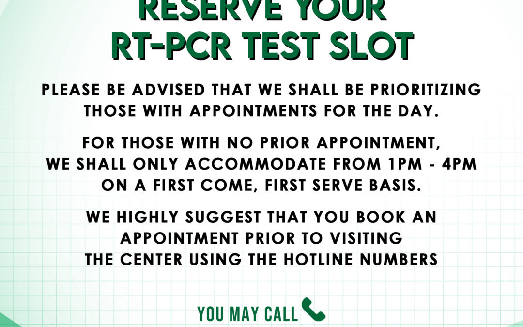RESERVCE YOUR RT-PCR TEST SLOT