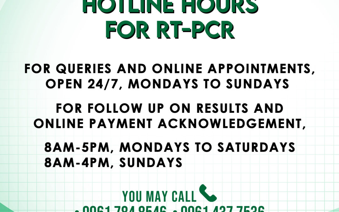 HOTLINE HOURS FOR RT-PCR